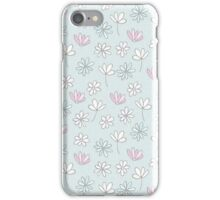 Modern abstract pastel pink blue trendy floral pattern iPhone Case/Skin