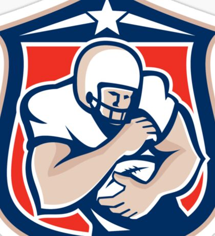 American Football Holding Ball Shield Retro Sticker