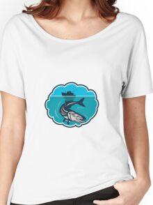 Cobia Fish Fishing Boat Bubble Retro Women's Relaxed Fit T-Shirt
