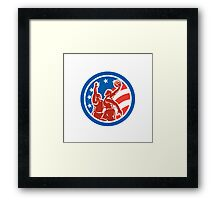 American Basketball Player Dunk Block Circle Retro Framed Print