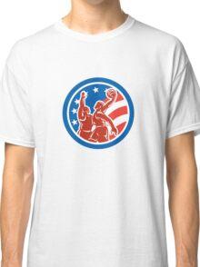 American Basketball Player Dunk Block Circle Retro Classic T-Shirt