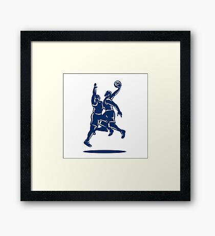 Basketball Player Dunk Block Retro Framed Print