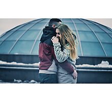 Girl hugs her boyfriend in the Louvre Museum Photographic Print