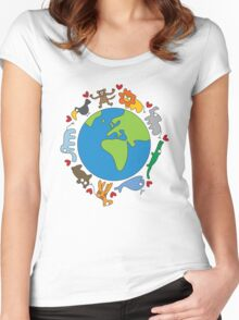 We Love Our Planet! Women's Fitted Scoop T-Shirt