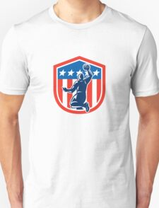 American Basketball Player Dunk Rear Shield Retro Unisex T-Shirt