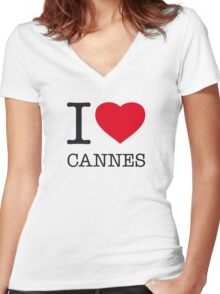 I ♥ CANNES Women's Fitted V-Neck T-Shirt