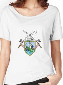 Fishing Rod Reel Blue Marlin Beer Bottle Coat of Arms Drawing Women's Relaxed Fit T-Shirt