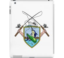 Fishing Rod Reel Blue Marlin Beer Bottle Coat of Arms Drawing iPad Case/Skin