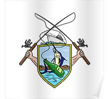 Fishing Rod Reel Blue Marlin Beer Bottle Coat of Arms Drawing Poster