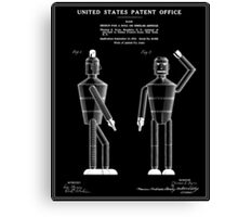 Robot Patent - Black Canvas Print