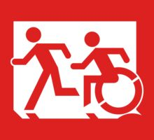 Emergency Exit Sign, with the Accessible Means of Egress Icon and Running Man, part of the Accessible Exit Sign Project T-Shirt