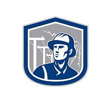 Power Lineman Repairman Shield Retro by patrimonio