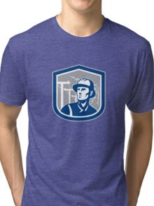 Power Lineman Repairman Shield Retro Tri-blend T-Shirt