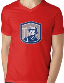Power Lineman Repairman Shield Retro Mens V-Neck T-Shirt