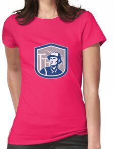 Power Lineman Repairman Shield Retro Womens Fitted T-Shirt