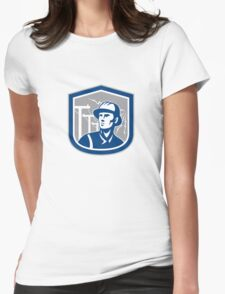 Power Lineman Repairman Shield Retro Womens Fitted T-Shirt