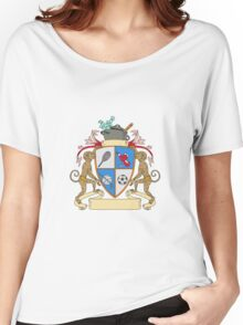 Monkey Money Cook Pot Sports Wine Coat of Arms Drawing Women's Relaxed Fit T-Shirt