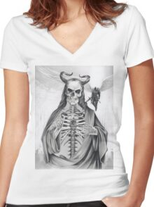 Jesus and the Angel of Death Women's Fitted V-Neck T-Shirt