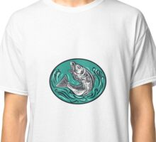 Rockfish Jumping Color Oval Drawing Classic T-Shirt