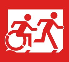 Emergency Exit Sign, with the Accessible Means of Egress Icon and Running Man, part of the Accessible Exit Sign Project One Piece - Short Sleeve