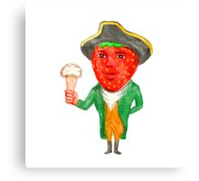 Strawberry Tricorn Hat Ice Cream Victorian Gentleman Watercolor Canvas Print