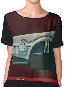 DeLorean Time Machine, Back to the Future Version 3 I/III Chiffon Top