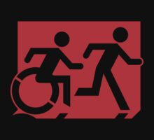 Emergency Exit Sign, with the Accessible Means of Egress Icon and Running Man, part of the Accessible Exit Sign Project Kids Tee