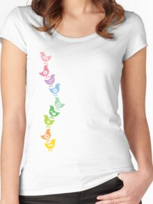 Balancing Retro Rainbow Chicks Women's Fitted Scoop T-Shirt