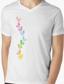Balancing Retro Rainbow Chicks Mens V-Neck T-Shirt