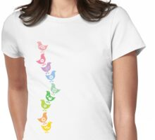 Balancing Retro Rainbow Chicks Womens Fitted T-Shirt