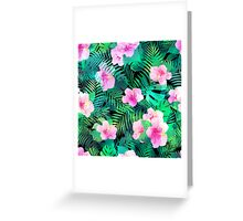 Exotic hibiscus flowers and palm leaves. Greeting Card