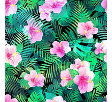 Exotic hibiscus flowers and palm leaves. Photographic Print