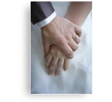 Wedding couple holding hands Canvas Print
