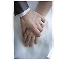 Wedding couple holding hands Poster