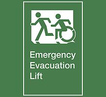 Emergency Evacuation Lift Sign, Left Hand, with the Accessible Means of Egress Icon and Running Man, part of the Accessible Exit Sign Project by LeeWilson