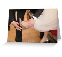 groom wearing Heel bride Greeting Card