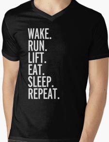 Run, Sleep, Repeat Gym Quote Mens V-Neck T-Shirt