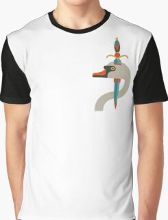 Flat design white swan tattoo Graphic T-Shirt