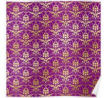 Damask Glitter Gold Royal Purple Classic Elegant Poster