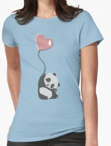 Panda And Balloon Womens Fitted T-Shirt