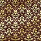 Damask Gold Glitter Dark Chestnut Brown Classic Elegant by Beverly Claire Kaiya