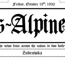 Trans Alpine Yodel Newspaper - Grand Budapest Hotel (black) Sticker