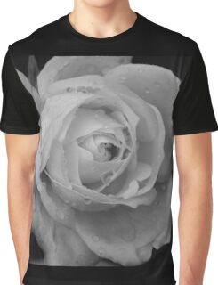 B&W Rose With Droplets Graphic T-Shirt