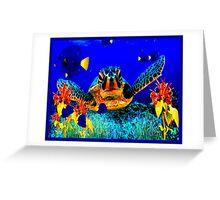 Painted Sea Turtle Art Deco Print Greeting Card