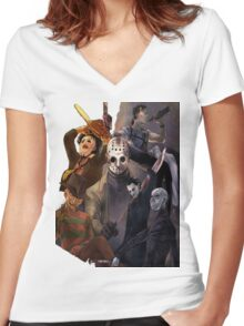 Terror Team - Ash Williams, PinHead, Leatherface, Freddy Krueger, Jason Voorhees, Ella, Micheal Myers Women's Fitted V-Neck T-Shirt