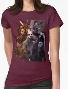 Terror Team - Ash Williams, PinHead, Leatherface, Freddy Krueger, Jason Voorhees, Ella, Micheal Myers Womens Fitted T-Shirt