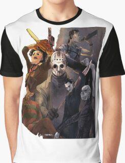 Terror Team - Ash Williams, PinHead, Leatherface, Freddy Krueger, Jason Voorhees, Ella, Micheal Myers Graphic T-Shirt