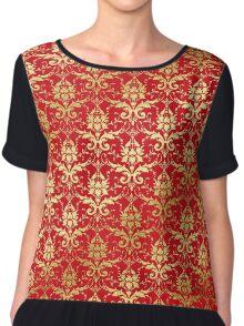 Damask Glitter Gold Venetian Red Classic Elegant Chiffon Top