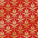 Damask Glitter Gold Venetian Red Classic Elegant by Beverly Claire Kaiya
