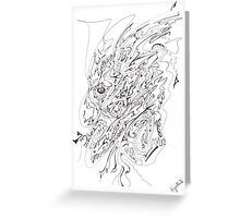 0110 - The Thinking Man in Black Lines Greeting Card